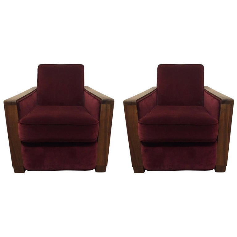 Pair of Art Deco Club Chairs Attributed to Jacques Adnet For Sale