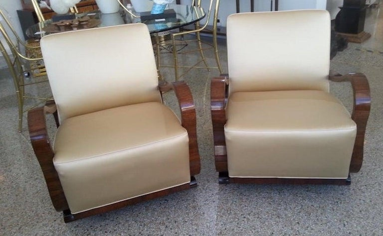 Czech Pair of Art Deco Club Chairs Attributed to Jindřich Halabala For Sale