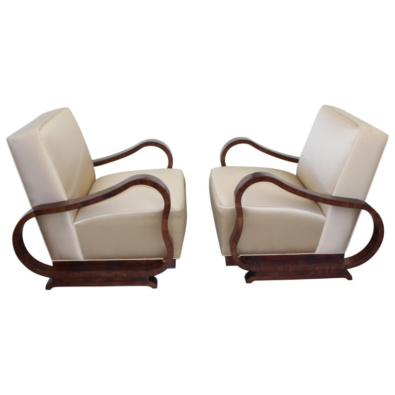 Pair of Art Deco Club Chairs Attributed to Jindřich Halabala For Sale