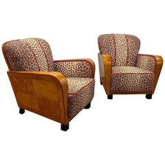 Pair of Art Deco Club Chairs in Satinwood