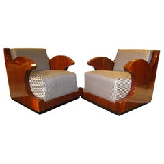Pair of Art Deco Club Chairs, Walnut Veneer, Southern France, circa 1925