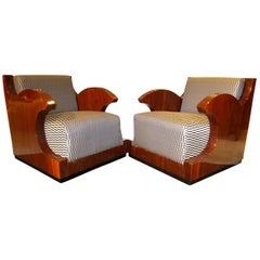 Pair of Art Deco Club Chairs, Walnut Veneer, Southern France, circa 1925