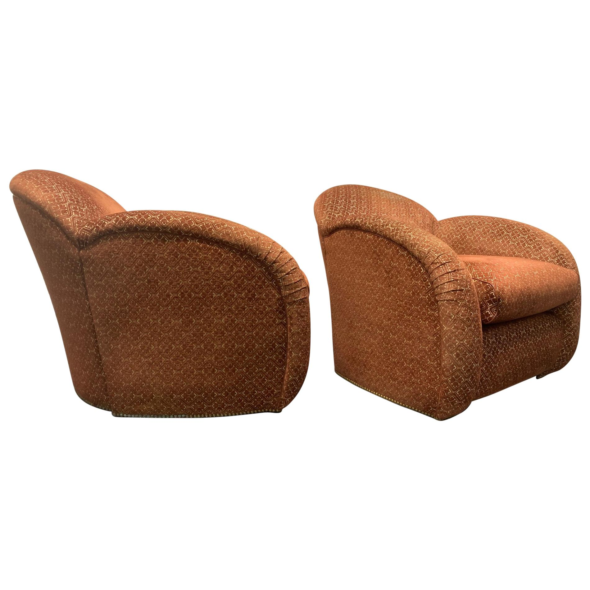 Pair of Art Deco Club Chairs with Ottoman