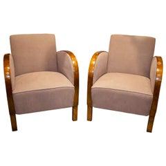 Pair of Art Deco Continental Satin Birch Club Chairs, circa 1920