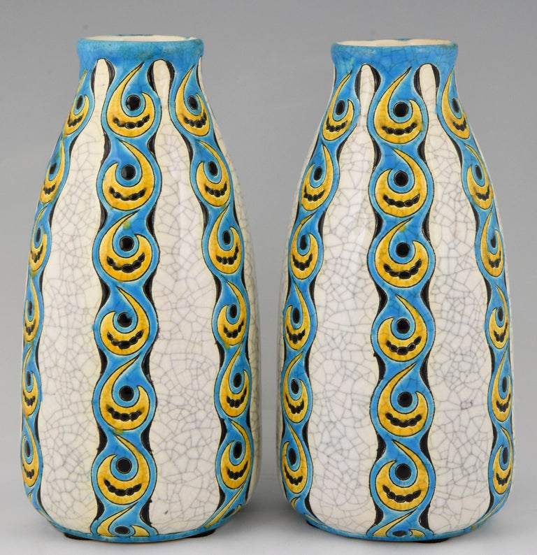 Belgian Pair of Art Deco craquelé vases by Charles Catteau for Boch Freres Belgium 1922 For Sale