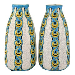 Pair of Art Deco craquelé vases by Charles Catteau for Boch Freres Belgium 1922