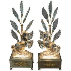 Pair of Art Deco Crystal Horse Lamps
