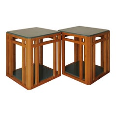 Pair of Art Deco Cubist Design Blue Lacquered Oak Bedside Tables / Lamp Tables