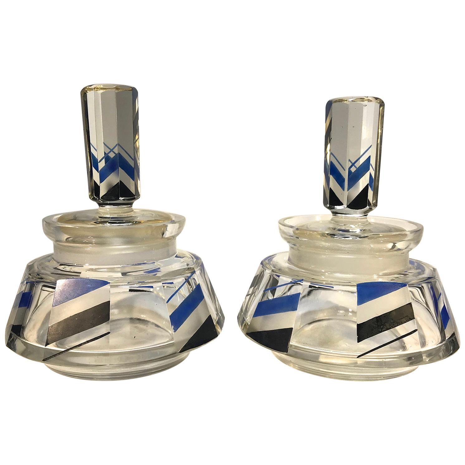 Pair of Art Deco Czech Black Silver Blue Enamel Lidded Vanity Pots, circa 1920s
