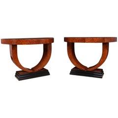 Pair of Art Deco Demilune Console Tables