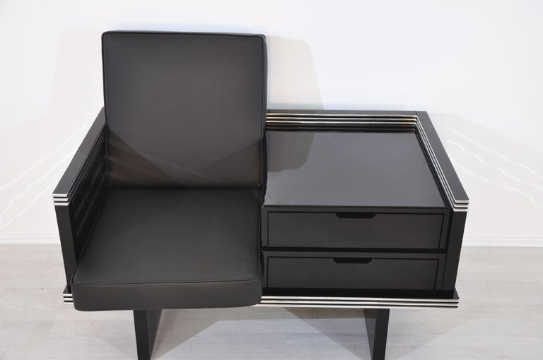 Pair of Art Deco Design Armchairs with Chromebars and Drawers 2