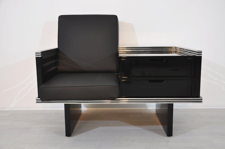 Pair of Art Deco Design Armchairs with Chromebars and Drawers 3