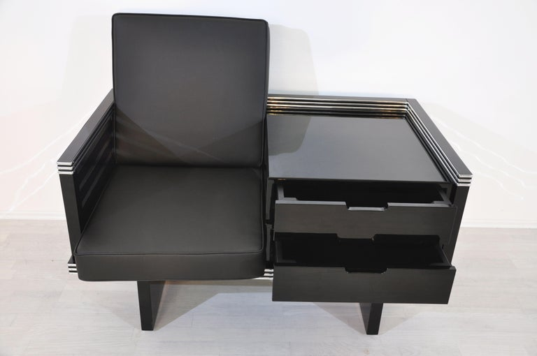 Pair of Art Deco Design Armchairs with Chromebars and Drawers 6