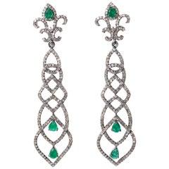 Pair of Art Deco Design Emerald and Diamond Dangle Earrings