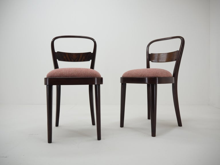 Pair of Art Deco Dining Chairs by Jindrich Halabala, Czechoslovakia, 1940 For Sale 8