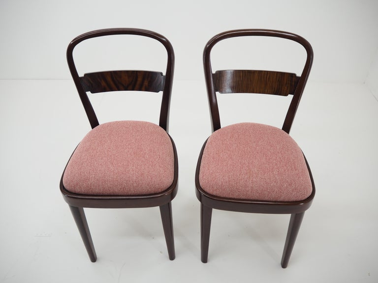 European Pair of Art Deco Dining Chairs by Jindrich Halabala, Czechoslovakia, 1940 For Sale