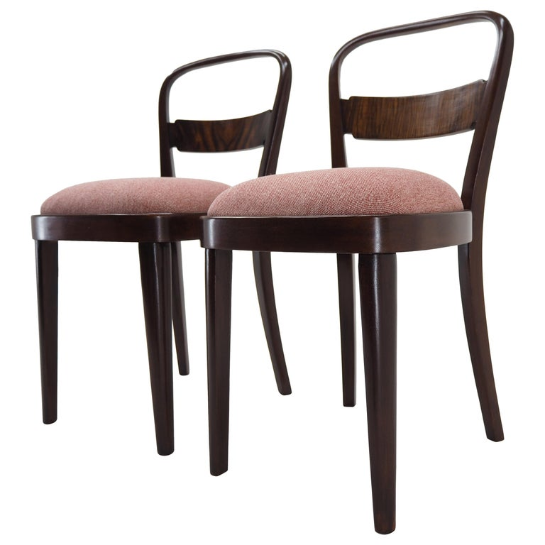 Pair of Art Deco Dining Chairs by Jindrich Halabala, Czechoslovakia, 1940 For Sale