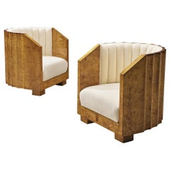 Pair of Art Deco Easy Chairs in Maple Burl