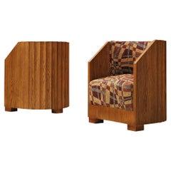 Pair of Art Deco Easy Chairs in Oak
