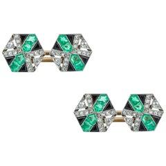 Pair of Art Deco Emerald, Diamond and Onyx Set Cufflinks