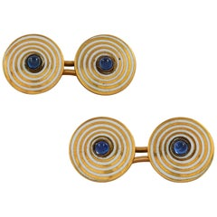 Pair of Art Deco Enamel and Sapphire Cufflinks
