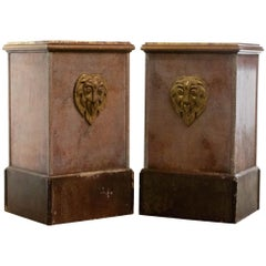 Pair of Art Deco End / Console Tables in Original Faux Marble Paint