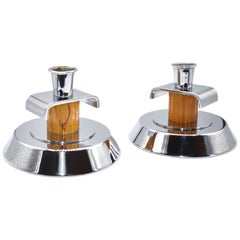 Pair of Art Deco English Bakelite and Chrome Candlesticks