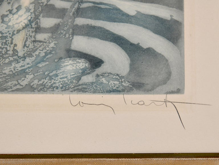 Pair of Art Deco Etchings Nudes in the Waves Louis Icart, France, 1936 For Sale 3