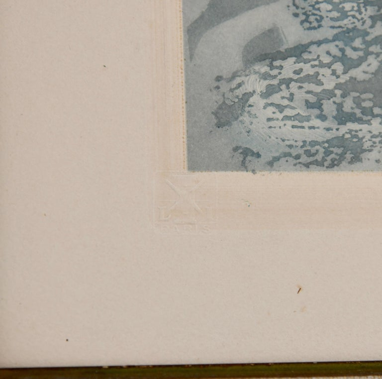 Pair of Art Deco Etchings Nudes in the Waves Louis Icart, France, 1936 For Sale 4