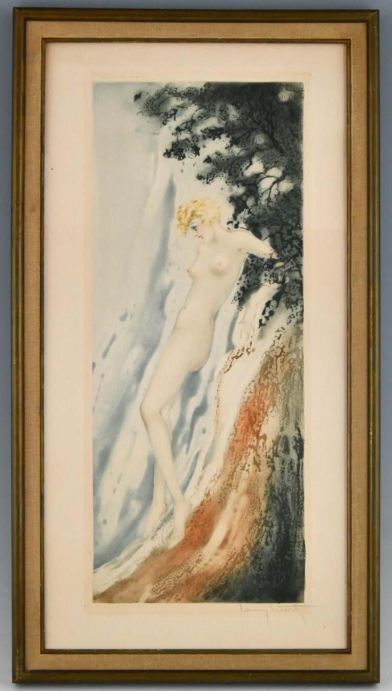 Pair of original Art Deco etchings with nudes in the waves. One called La Source, the other Le jet d'eau. Signed by Louis Icart (1888-1950) with windmill blindstamp, dated 1936. Etching, drypoint and aquatint, printed with colour and hand