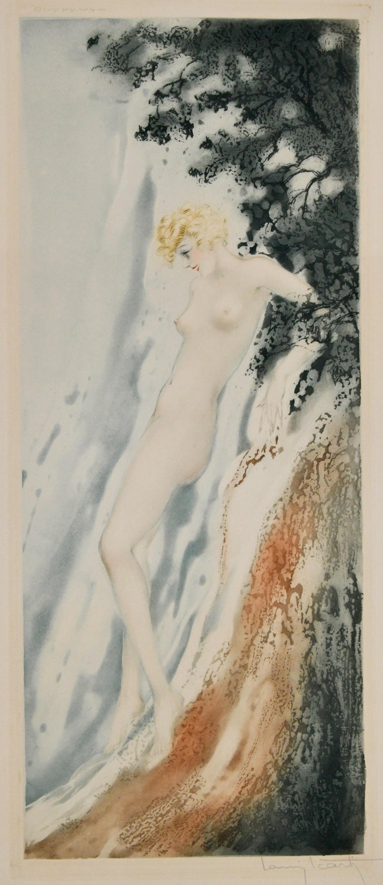 French Pair of Art Deco Etchings Nudes in the Waves Louis Icart, France, 1936 For Sale