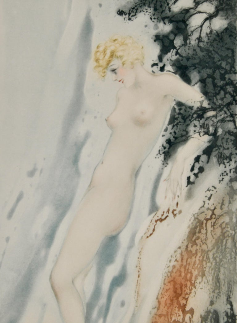 Etched Pair of Art Deco Etchings Nudes in the Waves Louis Icart, France, 1936 For Sale