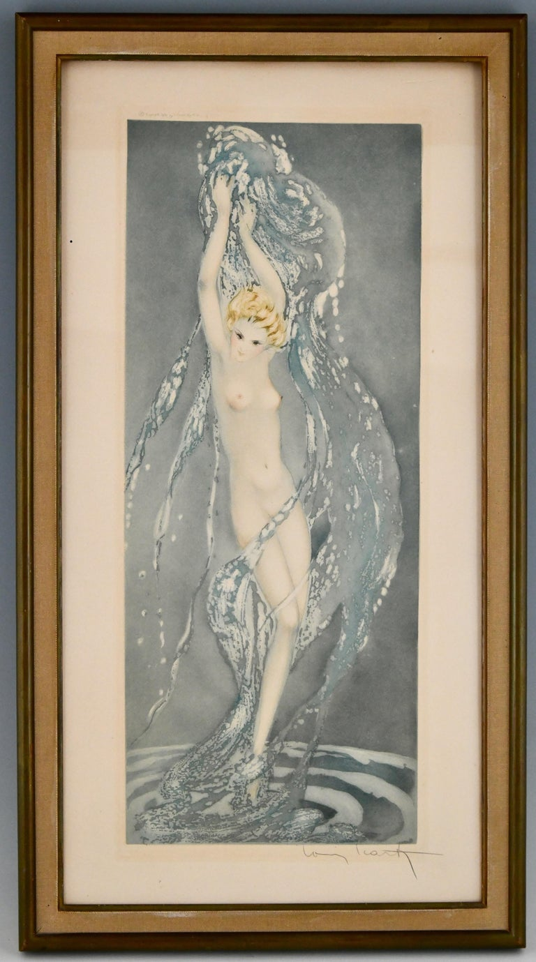 Paper Pair of Art Deco Etchings Nudes in the Waves Louis Icart, France, 1936 For Sale