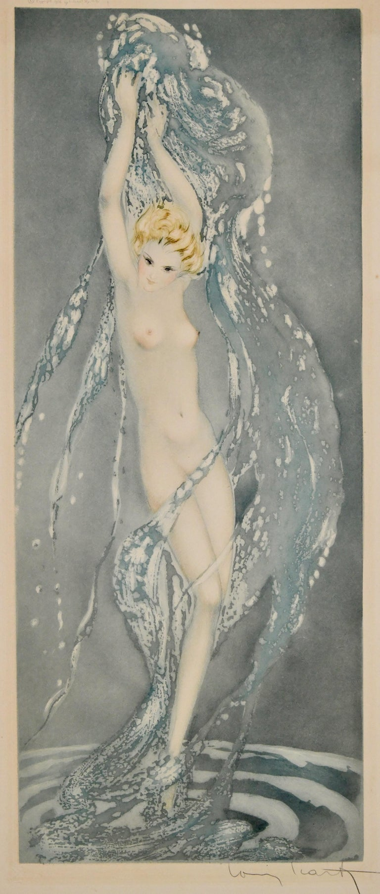 Pair of Art Deco Etchings Nudes in the Waves Louis Icart, France, 1936 For Sale 1