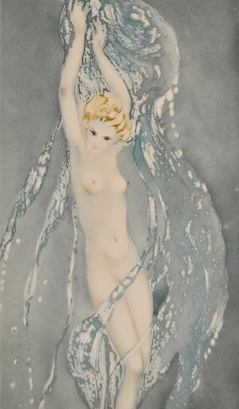 Pair of Art Deco Etchings Nudes in the Waves Louis Icart, France, 1936 For Sale 2
