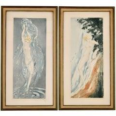 Pair of Art Deco Etchings Nudes in the Waves Louis Icart, France, 1936