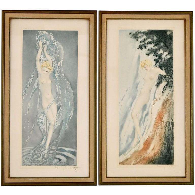 Pair of Art Deco Etchings Nudes in the Waves Louis Icart, France, 1936 For Sale