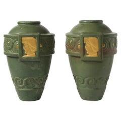 Pair of Art Deco Faience Vases w/ Gold Leaf Detailing, 1927 Paris Exhibition
