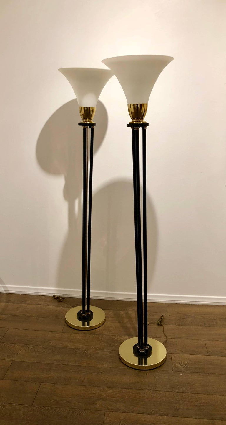 Pair Of Art Deco Floor Lamps In Brass Metal And Trumpet Glass Shape