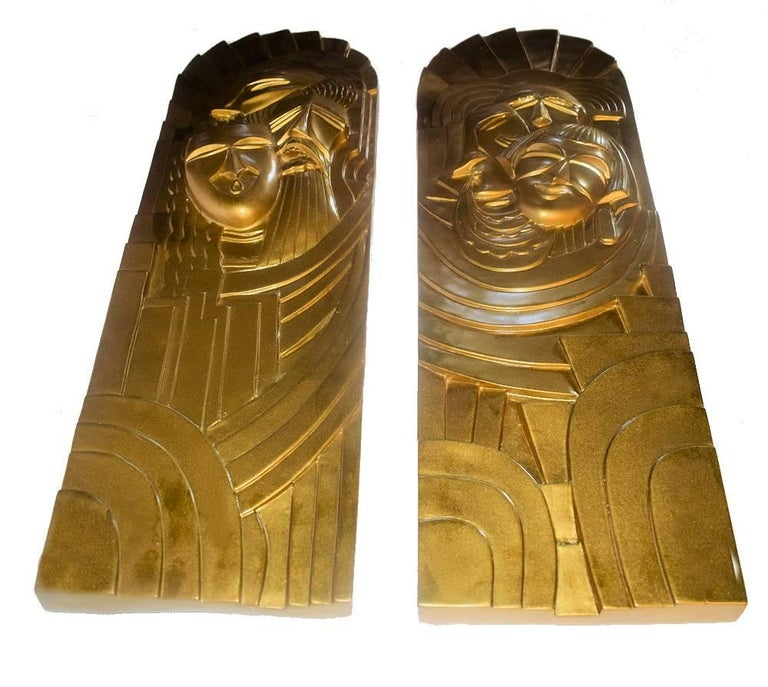 French Pair of Art Deco 'Folies Bergeres' Wall Plaques For Sale