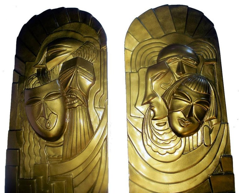 Pair of Art Deco 'Folies Bergeres' Wall Plaques In Excellent Condition For Sale In Devon, England
