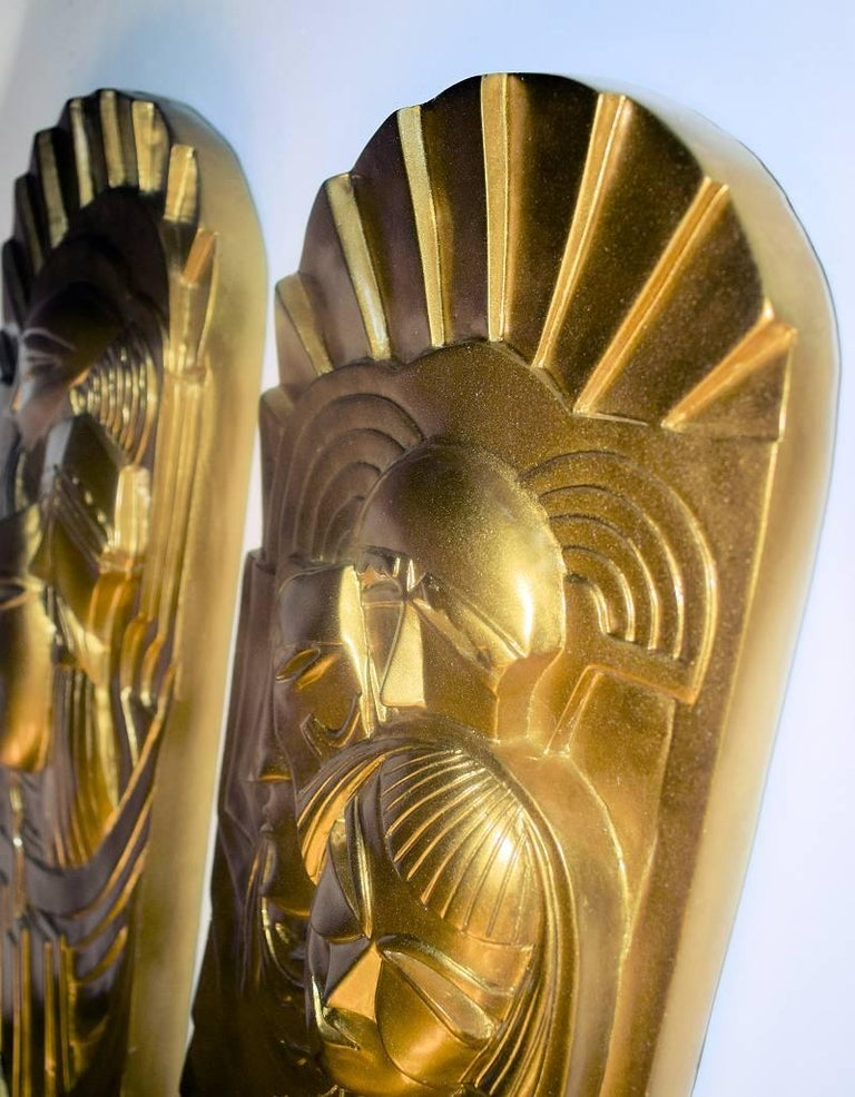20th Century Pair of Art Deco 'Folies Bergeres' Wall Plaques For Sale