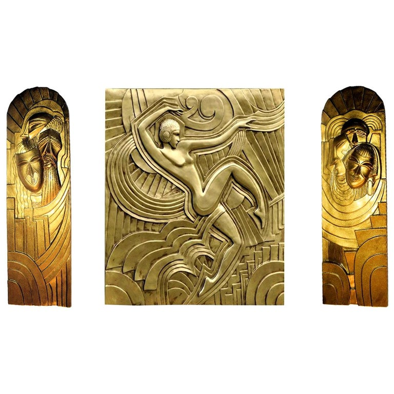 Pair of Art Deco 'Folies Bergeres' Wall Plaques For Sale