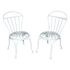 Pair of Art Deco Francois Carre French Sunburst Side Chairs