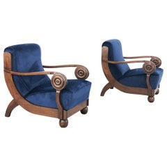 Pair of Art Deco French Armchairs Attributed to Maxime Old in Wood and Velvet