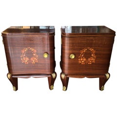 Pair of Art Deco French Bedside Table Cabinets Inlaid with Fruitwood and MOP