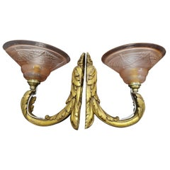 Pair of Art Deco French Bronze Sconces with Moulded Glass Shades, France