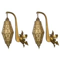 Pair of Art Deco French Latticed Brass Hanging Lanterns Sconces