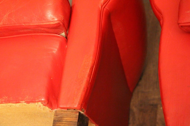 Pair of Art Deco French Mustache Back Club Chairs in Red Leather For Sale 6