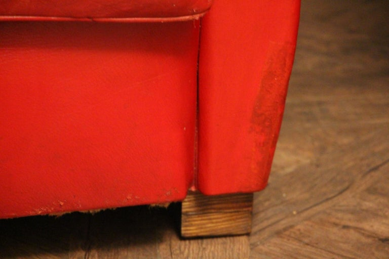 Pair of Art Deco French Mustache Back Club Chairs in Red Leather For Sale 7